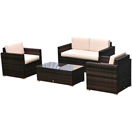 Outsunny 4-Piece Cushioned Patio Furniture Set, with 2 Chairs, Sectional, and Glass Coffee Table, Rattan Wicker, Brown