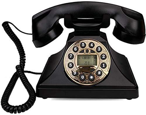 LLKK JNYTD Retro Teléfono Botón Marcación Creativa Moda Oficina Hogar con Cable Vintage Retro Teléfono Fijo - Rojo