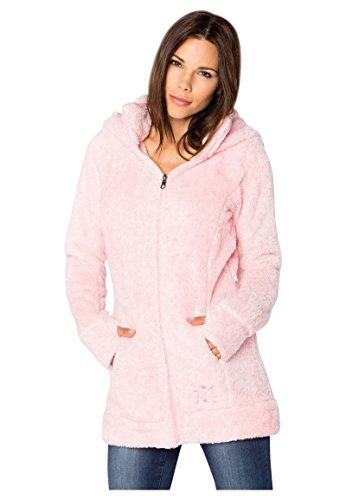 Sublevel Damen Kuschel Fleece-Mantel aus Teddy-Fleece Rose M