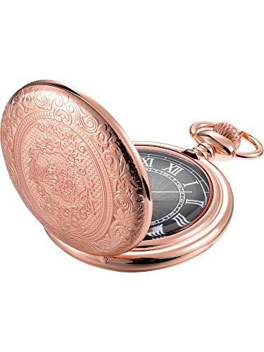 Reloj de Bolsillo de Cuarzo para Hombres con Esfera Negra y Cadena (Oro rosa)