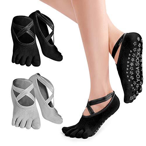 PTN Calcetines Antideslizantes Para Yoga, 2 Pares Calcetines Antideslizantes con Dedos, Silicona Antideslizante para Barre, Ballet, Danza, Workout, Fitness