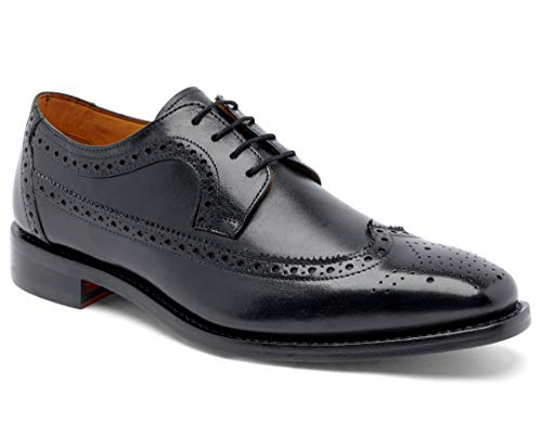 Anthony Veer Men's Regan Wingtip Oxford Full Grain Leather Shoes Goodyear Welt (11 D, Black - Full Grain Calfskin Leather)