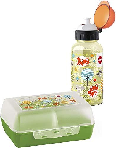 Emsa 518139 Kinder Set Trinkflasche + Brotdose; Motiv: Fuchs; BPA frei; Material: Trinkflasche aus Tritan (bruchfest und unbedenklich), Brotdose aus Kunststoff