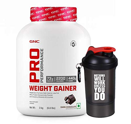 GNC Pro Performance Weight Gainer - 6.6 lbs, 3 kg (Dark Chocolate) with Free!! Nutradict Shaker