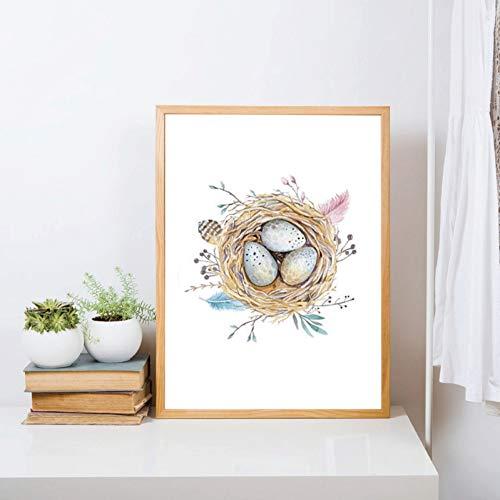 ZWBBO Leuke vogel, magische nestkast, druk, aquarelstift, natuur, linnen voor baby, kunst, wanddecoratie