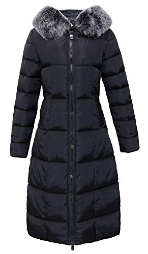 chouyatou Women's Winter Windproof Padded Long Down Alternative Coat Faux Fur Hood (Medium, Black)