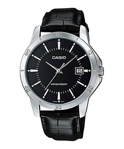 Casio MTP-V004L-1A Men's Stainless Steel Leather Band Black Dial Date Watch