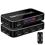 NEWCARE 4K@60Hz 4x1 HDMI Switch + Optical Toslink SPDIF + 3.5mm Stereo Audio Out, HDMI2.0 Switcher Selector 4 in 1 Out with Remote, HDMI Audio Extractor Adapter