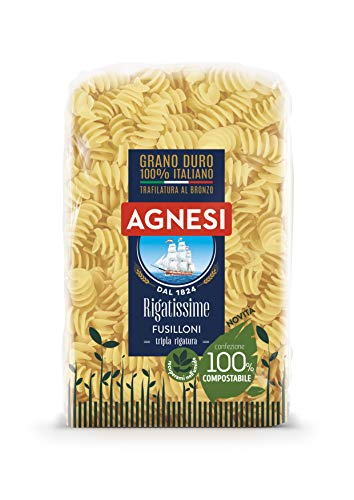 Agnesi Fusilloni rigati Rigatissime   Pasta di semola di grano duro 100% italiano   Trafilatura al bronzo   Confezione compostabile da 500 grammi