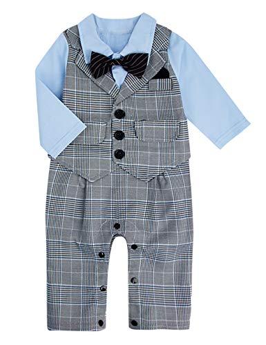 A&J DESIGN Baby Junge Outfits Set Krawatte Taufe Hochzeit Body (Grau, 3-6 Monate)