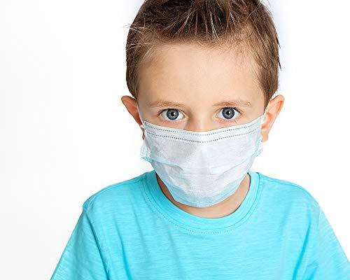 Einweg Mund Nasen Schutz für Kinder - aus weichem Vliesstoff - 20 Stück - 3-lagig - mit verstellbaren Nasenbügel und bequemen Gummibänder - angenehmes Atmen - Farbe: Weiss