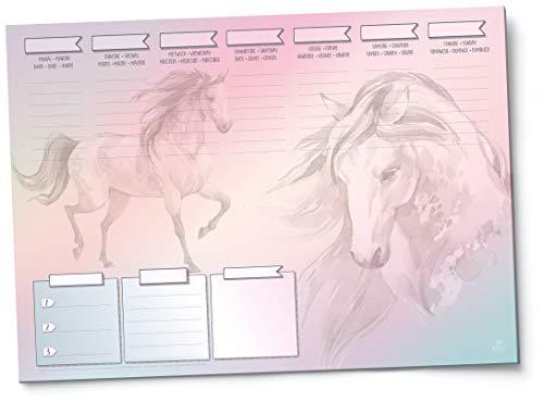 PFERDE Schreibunterlage - DIN A3 Papier - 25 Blatt - versch. Motive: Einhorn, Mermaid - Wochenplan blanko - für Mädchen, Teenager, SchülerInnen