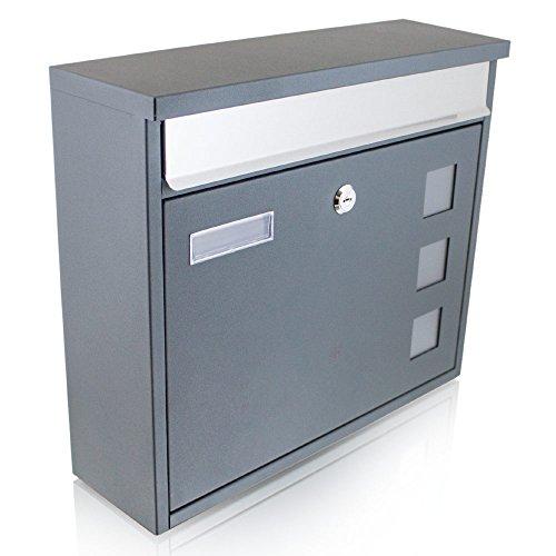 BITUXX® Dunkelgrauer Design Wandbriefkasten Briefkasten Postkasten Mailbox Letterbox und Edelstahl Briefklappe