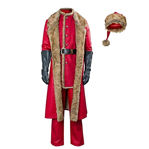 Traje de Santa Claus de Navidad para Adultos, Chaqueta, Sombrero, Disfraz de Cosplay de pelcula, Traje de Cuero de Piel sinttica roja de Santa de Lujo para Hombre