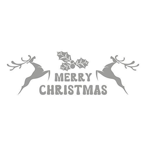 lepni.me Wandaufkleber Merry Christmas Deer Ornaments Christmas Decoration (Silver)