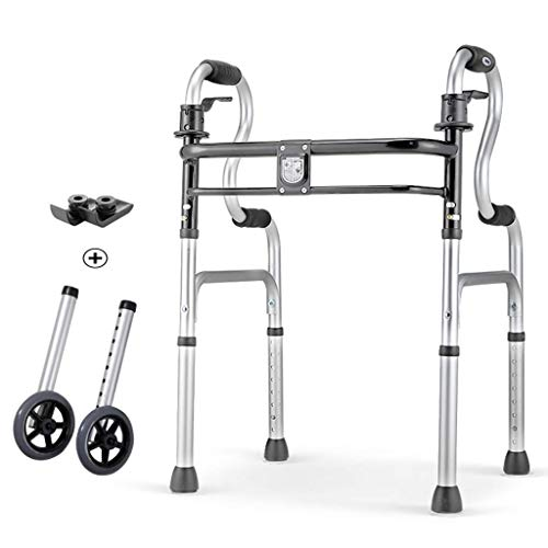 Generic Brands Lightweight Aluminum Folding Walker Duty Folding Walker with Wheels Adults Extra Wide Front Wheel Walker Sized Up To 400 Lbs Suitable for Adult