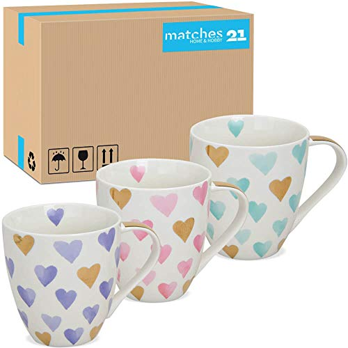 matches21 HOME & HOBBY Grote Jumbo Mok Cups Koffie Cups Harten paars roze turkoois & interne druk porselein 36 stks 11 cm / 400 ml