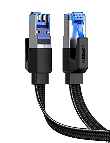 UGREEN Cat 8 Plat Câble Ethernet RJ45 Câble Réseau Nylon Tressé 40Gbps 2000MHz PoE 8P8C Compatible avec PS3 PS4 PS5 TV Box Xbox Routeur Modem Switch Poe Consoles de Jeux (0.5M)