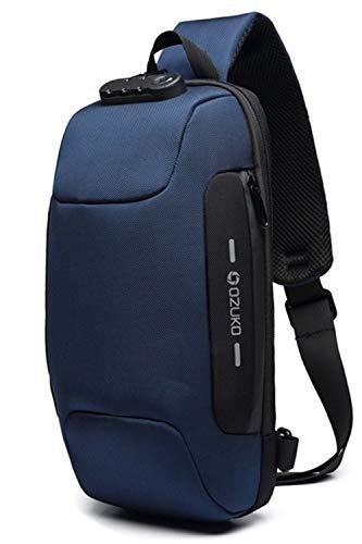 OZUKO(オズコ)[OZUKO] ボディバッグ メンズ 斜めがけ ショルダーバッグ 大容量 防水 USBポート付き ワンショルダー 軽量 盗難防止 iPad収納可能 (ブルー)ブルー