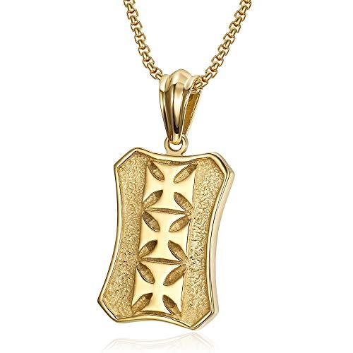 BOBIJOO JEWELRY - Anhänger Templer-Ritter-Platte Militärische Wappen 3 Kreuz-Stahl-Gold + Kette