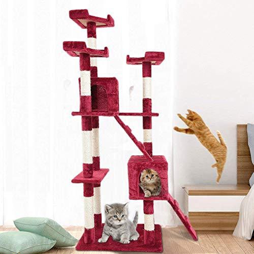 tiragraffi per gatti rosso Kunyoxiu Tiragraffi per Gatti Gatto Albero Tira Graffi Gioco Giocattolo Gatti (170cm
