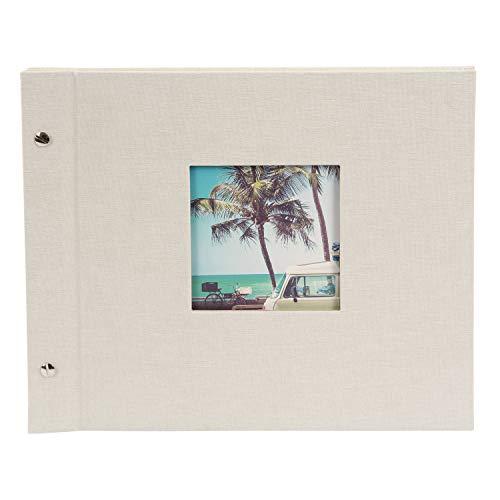 Goldbuch Schraubalbum mit Bildausschnitt, Bella Vista, 30x25 cm, 40 weiße Seiten mit Pergamin-Trennblättern, Erweiterbar, Leinen, Sandgrau, 26 823