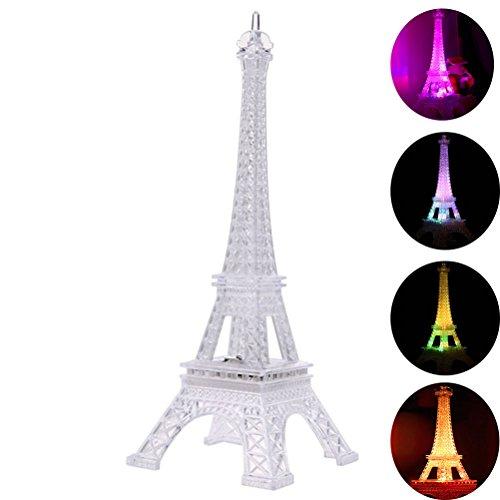 LEDMOMO Luz colorida de la noche de la torre Eiffel, 7 colores LED Lámpara Regalo de la decoración de acrílico del estilo de la moda de París, 9.8inch