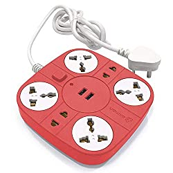 Axmon Extension Cord with 2 USB Charging Ports and 6 Socket - 10 Amp Heavy Duty Multiplug Extension Board for Multiple Devices Smartphone Tablet Laptop Computer - Red,Axmon