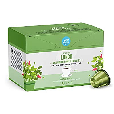 Amazon Brand - Happy Belly Lungo Roast & Ground Coffee in Nespresso compatible aluminium capsules, 120 aluminium capsules (4x30)