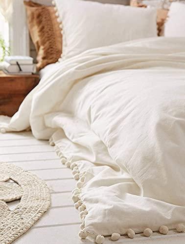 Funda de edredón de algodón con flecos y diseño de pompón blanco, tamaño Queen, 218 x 228 cm