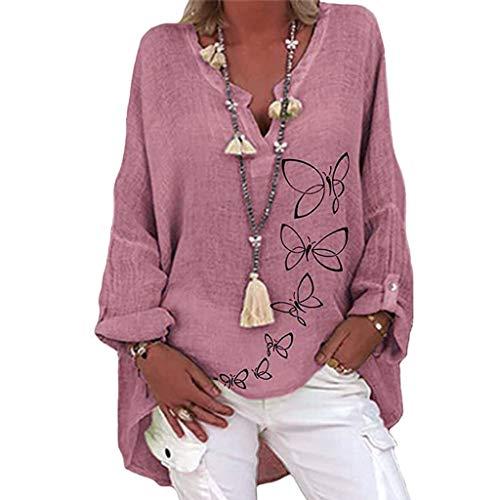 Femmes Oversize Coton Lin Tops Casual Imprimé Papillon Tunique Grande Taille Manches Longues Col V T-shirt Loose Chemisier XXXXL Violet