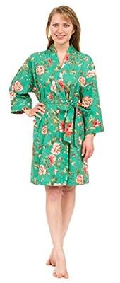 "Leisureland Women's Cotton Poplin Short Kimono Robe Floral 36"""