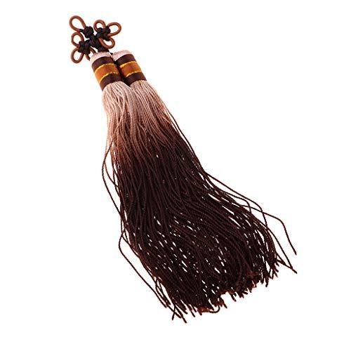 F Fityle Quasten-Anhänger chinesische Knoten-seidige handgemachte weiche Troddeln für Halsketten, Ohrringe, DIY-Schmuckherstellung - Kaffee
