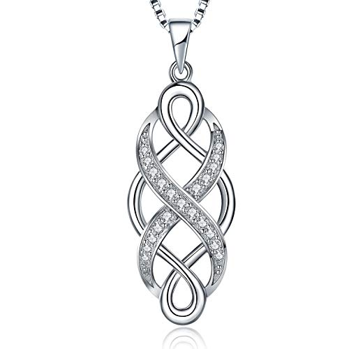 MUATOGIML 925 Sterling Silver Infinity Love Irish Celtic Knot Pendant Necklace Jewelry Gifts for Men Women, Mom Birthday Gifts