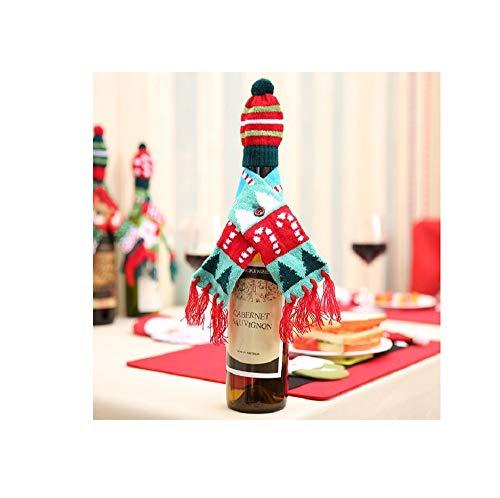 pZgfg Christmas Hat 2 Unids/Set Santa Claus Vino Champagne Botella Tejiendo Sombreros Y Bufanda Navidad Fiesta En Casa Decoraciones De Mesa Decoracin Navidea Regalos, rbol