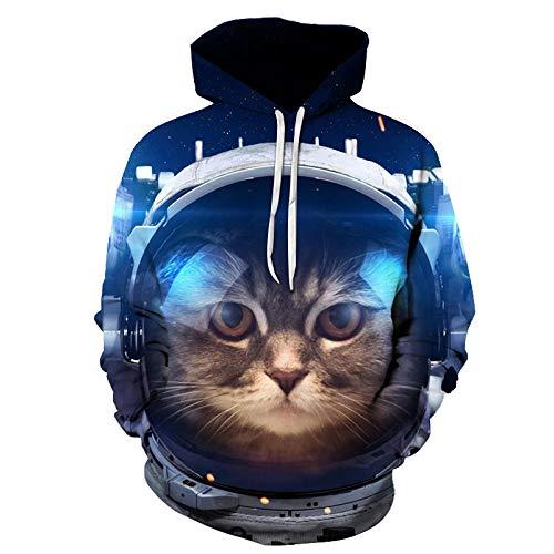 WPHRL Hoodie Unisex Paar Kapuzenpullover Katze mit Kopfhörern M 3D Print Pullover Bunt Muster Halloween Männer und Frauen Kapuzenpulli Kapuzenjacke Sweatshirts