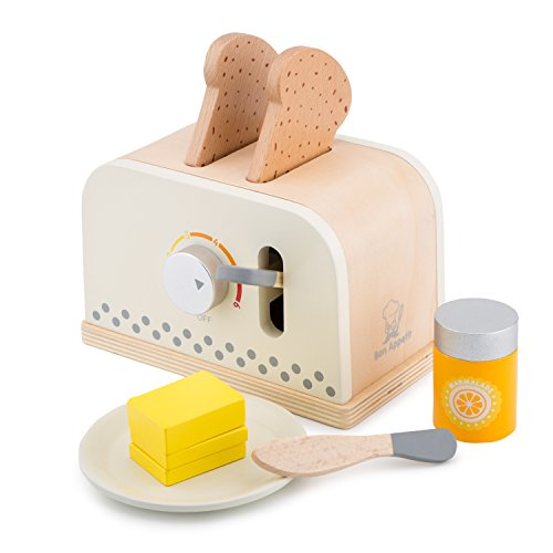 New Classic Toys 10706 Toaster mit Zubehör-Weiß, Multi Color