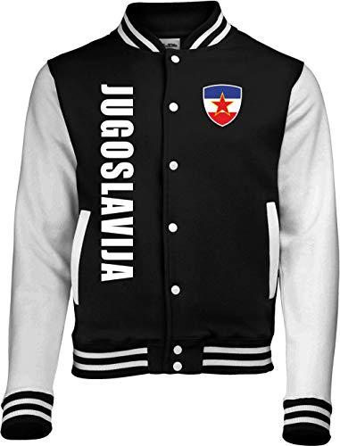 Aprom-Sports Jugoslawien College Jacke - EM WM Sweat Sport Trikot Look (Schwarz, S)