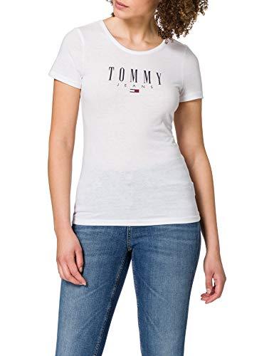 Tommy Jeans Damen TJW Essential Skinny Logo Tee T-Shirt, weiß, Large