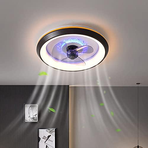 Ventilador de techo con iluminación LED, moderno, regulable, invisible, lámpara de techo, mando a distancia, creativa, ultra silenciosa, para dormitorio, habitación de los niños, lámpara de techo