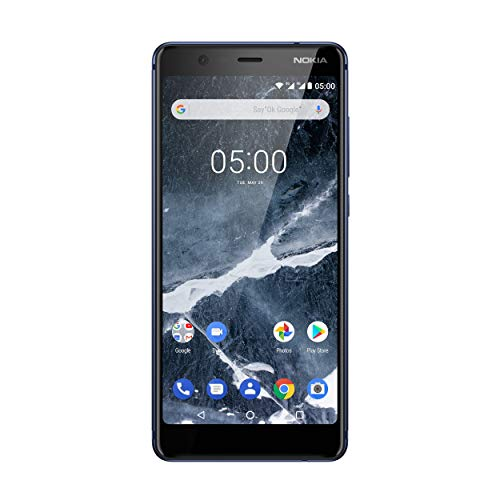 Nokia 5.1 Smartphone (13,97 cm (5,5 Zoll) HD+ Dislplay, 16GB, 2GB RAM, 16MP Kamera, langlebiger Vollalurahmen, Android Oreo, Dual Sim, inkl. Displayschutzfolie, Amazon Edition) blau, version 2018