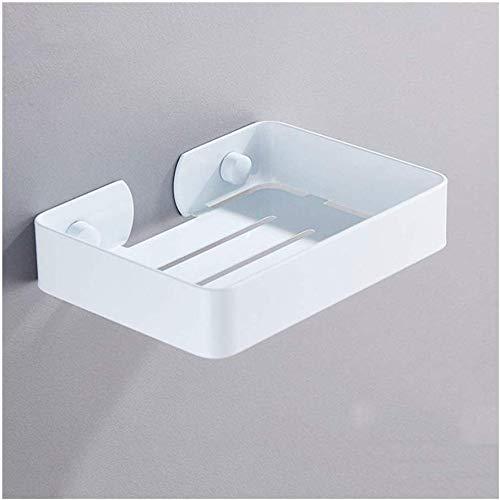 Badkamer zeephouder roestvrij staal meerdere afvoergaten afgeronde hoeken design douchebak plank IC (kleur: zilver) wit