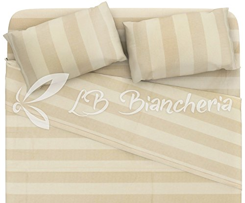 R.P. Dolce Notte - Completo Lenzuola in Flanella Shabby Chic Righe Naturale - Made in Italy -Cotone a Trama fitta - 2 piazze. Letto Matrimoniale