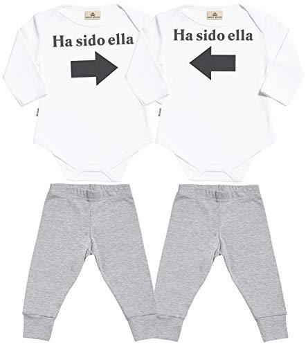SR - Ha Sido Ella & Ha Sido Ella - Conjunto Gemelo - Regalo para bebé - Blanco Body para bebés & Gris Pantalones para bebé - Ropa Conjuntos para bebé - 0-6 Meses