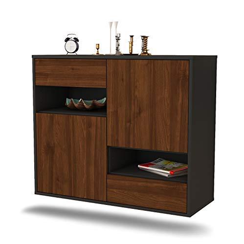 Dekati dressoir Spokane hangend (92x77x35cm) Corpus antraciet mat   Front Hout Design   Push-to-Open modern walnoot