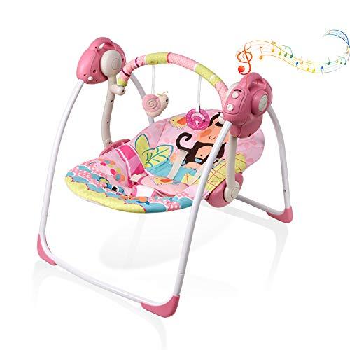 VASTFAFA mecedora para bebés, mecedora eléctrica para bebés, columpio plegable con mosquitera, 16 melodías, 6 velocidades de oscilación media (93887 rosa)