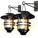 Otdair Solar Wall Lantern Outdoor, 2 Pcs Glass Solar Hanging Lantern Light Waterproof Solar Wall Sconce Light Fixture Wall Mount Solar Outdoor Wall Lights Decorative for Front Porch, Patio and Yard