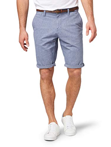 TOM TAILOR Herren Hosen & Chino Josh Regular Slim Chino Shorts mit Gürtel Yarn Dye Structure Blue,34,15575,6000