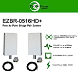 EZ-Bridge-LT5+ HD 100MB, 5GHz 802.11an Pt/Pt Secure Bridge Pair, Shield Outdr 75' CAT5 Cables + Surge Prot 24V PoE Ins, Plug n Play, 25dBm Out + 14dB Ant, 3mi Range, Wall/Pole(1-2') Mt Brckts, 4W Pwr