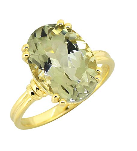 YoTreasure Green Amethyst Solid 925 Sterling Silver Gold Plated Ring Jewelry